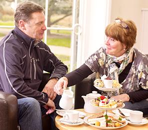 couple having afternoon tea in Cedars Park Cafe.